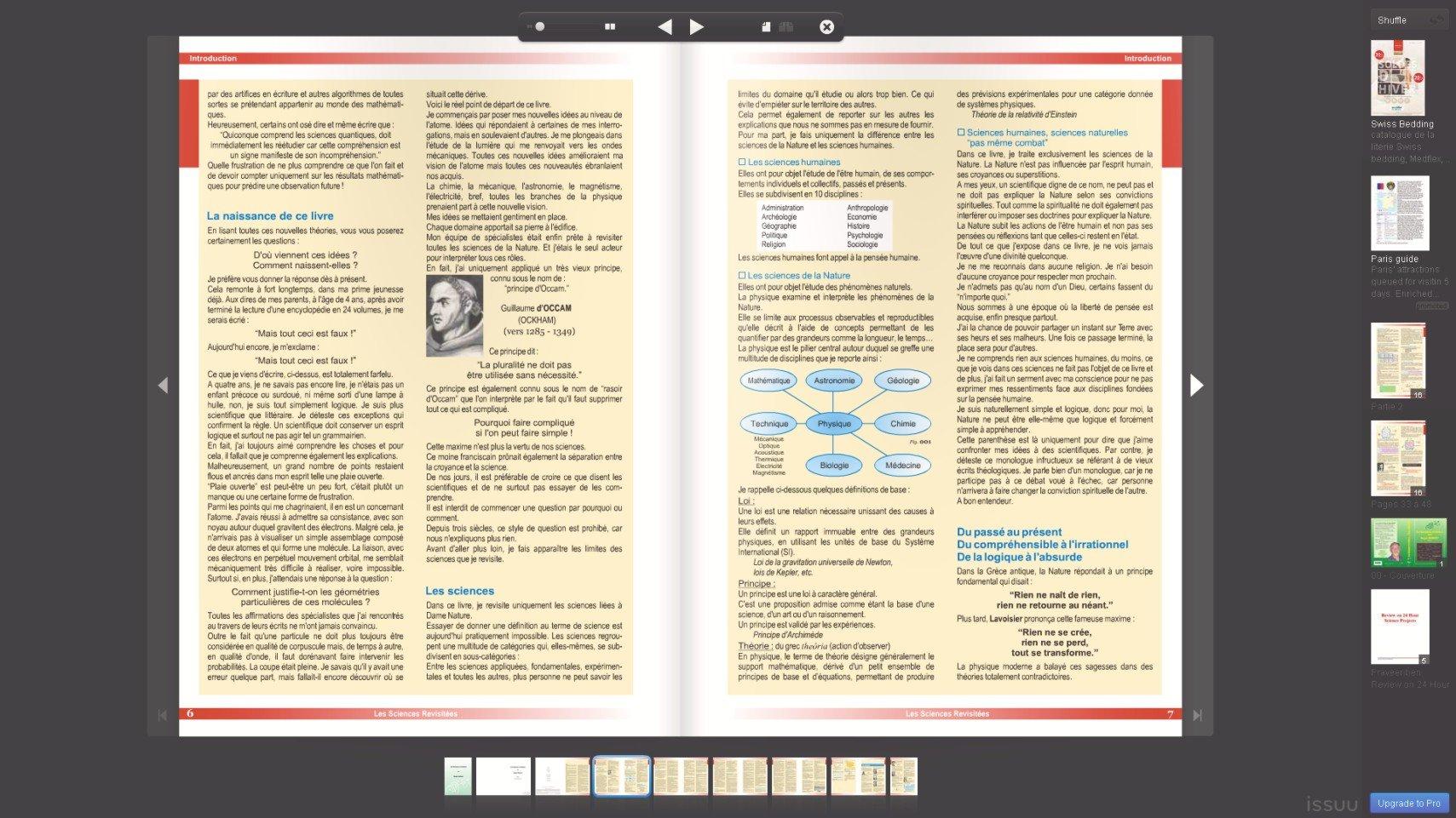 Le livre en plein écran. dans Sciences revisitees ISSUU-1